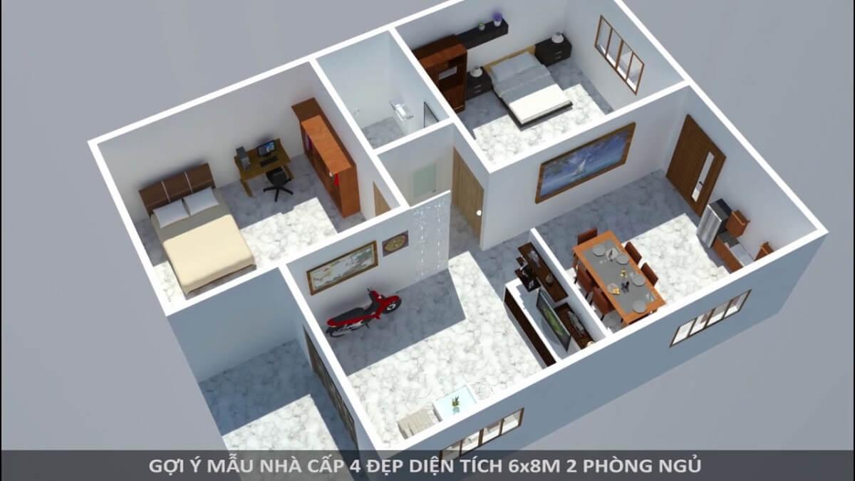 Nhà Cấp 4 Có 2 Phòng Ngủ