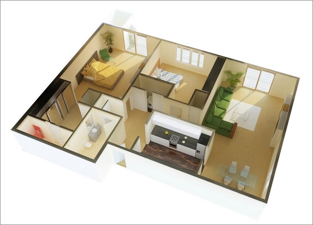 Nhà Hai Tầng Có 2 Phòng Ngủ