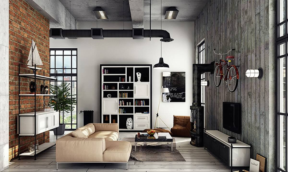 Phòng Khách Theo Phong Cách Loft