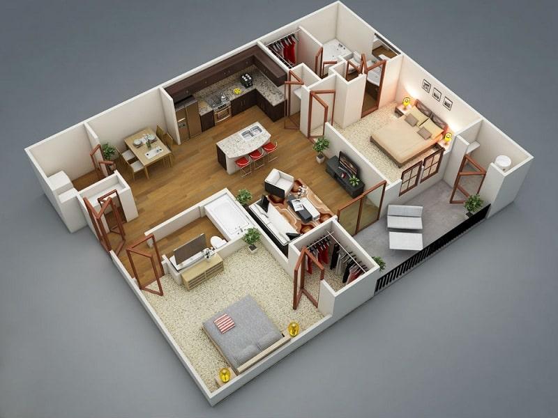 Bản Thiết Kế Nhà Ống 1 Tầng 2 Phòng Ngủ