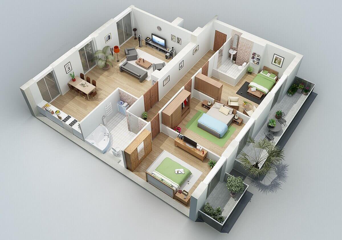 Các Mẫu Nhà Cấp 4 Có 3 Phòng Ngủ