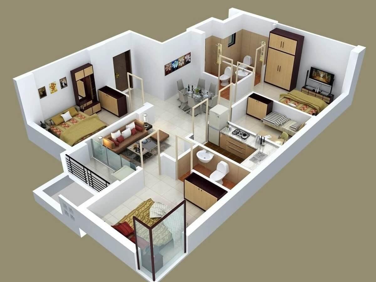 Mẫu Nhà Cấp 4 Có 4 Phòng Ngủ
