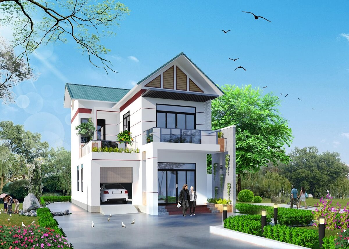 Nhà 2 Tầng Mái Thái Chữ L
