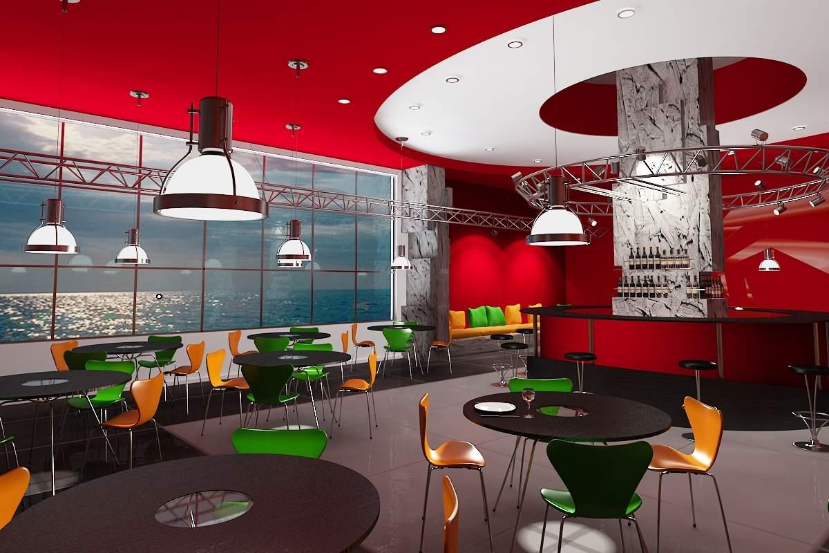 Quán Cafe Lãng Mạn Với Màu Đỏ Nổi Bật