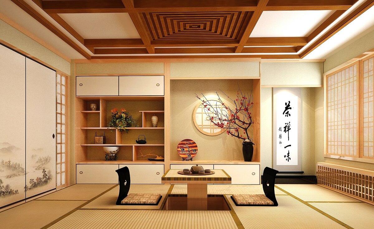 Thiết Kế Phòng Khách Phong Cách Nhật Bản