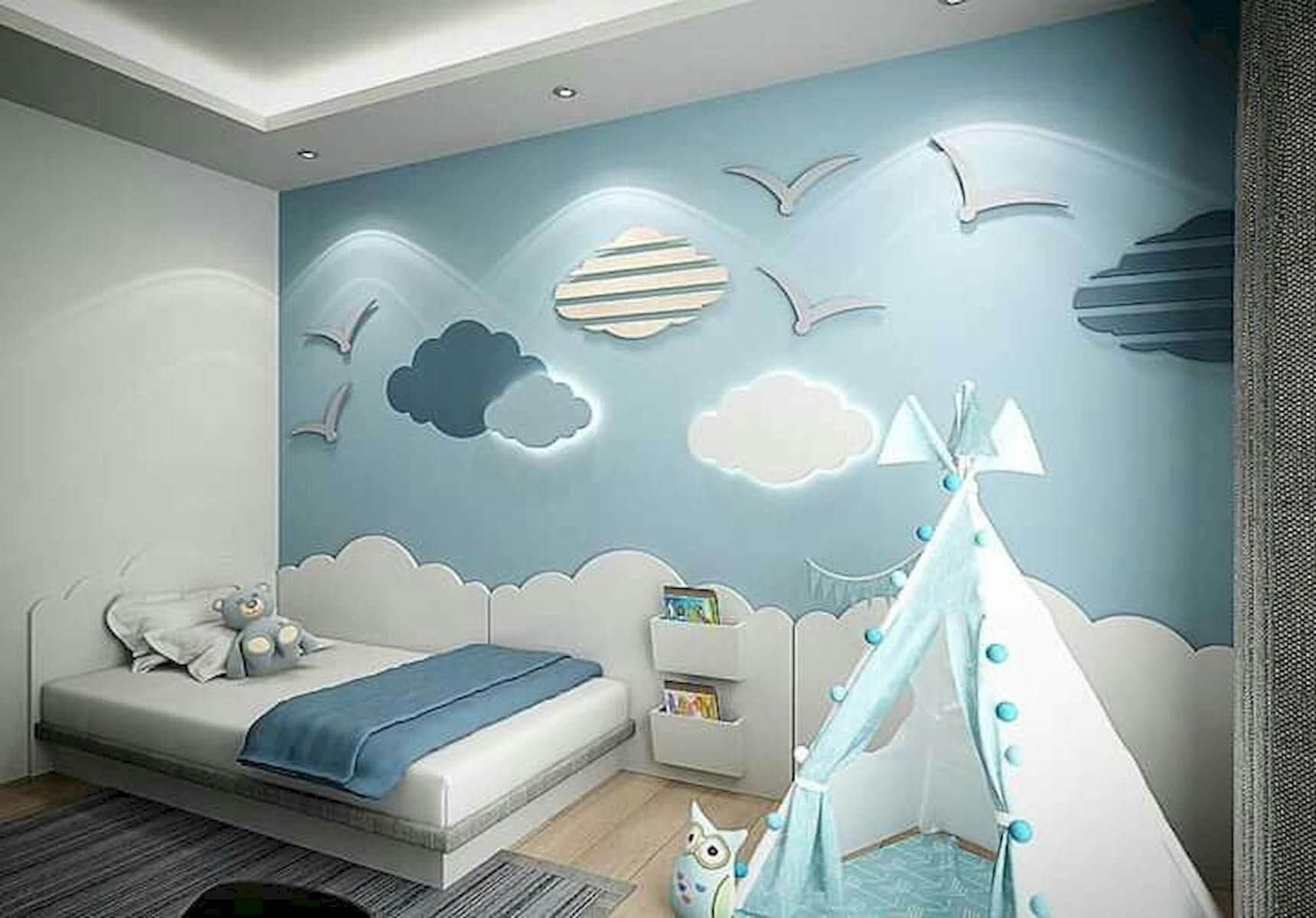 Mẫu Phòng Ngủ Tông Màu Nhẹ Nhàng Dành Cho Bé Trai