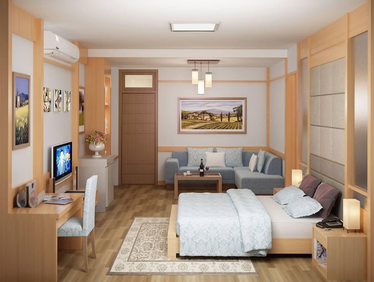 Nội Thất Phòng Khách Sạn Mini Bằng Chất Liệu Gỗ