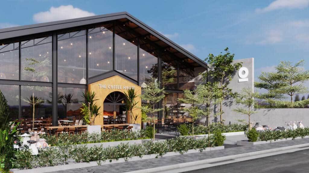 Thiết Kế Mặt Tiền Quán Cafe Ngang 5m